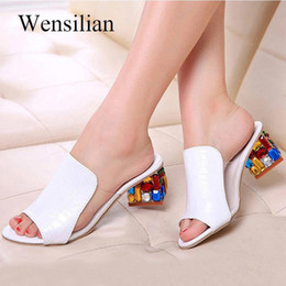 women flat heel flower sandals NZ - Fashion Crystal Sandals Women Flower Elegant Peep Toe Sandals Pu Square Heels Rhinestone Ladies Casual Shoes Sandalia Feminina Y190706