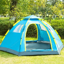 open beach tent Australia - Outdoor Quick Open Automatic Tent for 5-8 Person Double Door Breathable Summer Tent for Beach Holiday Resting 305x240x145cm