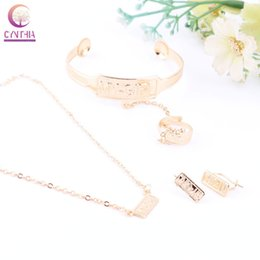 Discount indian baby jewelry Fashion 18K Gold Plated Children Baby Jewelry Sets Necklace Earrings Ring Bangle Kids Gifts Jewelry Set
