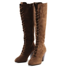 $enCountryForm.capitalKeyWord Australia - botas mujer Women Straps Slim Zip High Boots Over The Knee Boots High Heels Shoes lace up suede for women knee #3