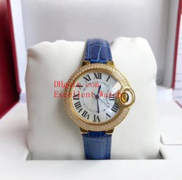 $enCountryForm.capitalKeyWord Australia - Hot buy Ladies Watches 36 mm 33 mm Ballon Bleu W6900651 W6920100 18k Yellow Gold Diamond Bezel White Dial VK Quartz Leather Strap Watch W