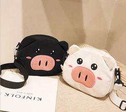 Cartoon Strange Australia - Embroidered Canvas Bag Girls 2019 New Student Cartoon Piggy Bag Strange Fashion Single Shoulder Slant Bag Wholesale