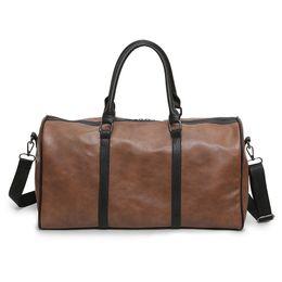 Hand Bag Large Brown Australia - PU Leather Travel Bag Couple Travel Bags Hand Luggage For Women Men Black Brown Large Capacity Fashion Duffle Bag 2018