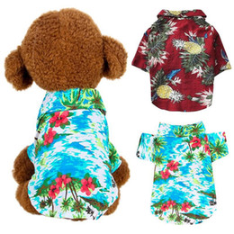 Wholesale dog t shorts for sale – custom Dog Clothes Summer Beach T Shirt Small Vest Print Hawaii Apparel Pet Travel Floral Short Sleeve Clothing Cat Blouse Jumpsuit Outfit Supply