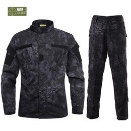 Discount army combat jacket - HANWILD Man CS Tactical Jackets Army Combat Trousers Training Pants War Game camouflage Wear-resisting Jacket+Pant S20M