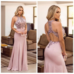 Backless slim prom dresses online shopping - O Neck Slim Mermaid Prom Dresses Sexy Criss Cross Back Beaded Rhinestone Formal Evening Party Gowns Sleeveless Customized Special Gown
