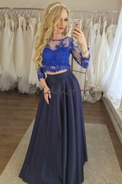 Wholesale graduating dresses for sale - Group buy Navy Blue Two Piece Prom Dresses Scoop Neckline Sleeves Formal Party Dresses Evening Wear Lace Pick Up Special Occasion Graduate Dress