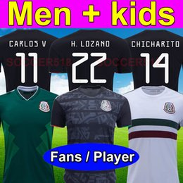 cb7f4a9b1 2019 Mexico blackout Gold cup player version soccer jerseys H. LOZANO CHICHARITO  kids green football shirts white jersey camiseta de fútbol