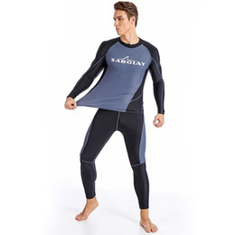 plus size swimwear sleeves UK - L-4XL 5XL Plus Size Surf Shirt Men Rashguard Long Sleeve Swimsuit Korean Swimwear Rash Guard Diving Suit Quick Dry Sails Clothes