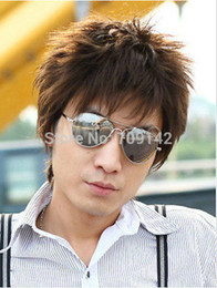 $enCountryForm.capitalKeyWord NZ - Fashion Wig New Sexy Men's Short Dark Brown Natural Hair Wigs queen Kanekalon hair no lace front wigs Free deliver