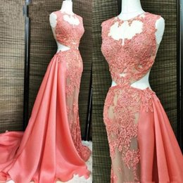 $enCountryForm.capitalKeyWord NZ - Sexy Watermelon Red See Through Prom Dresses Gutaway Sides Mermaid Illusion Sleeveless Mermaid Evening Gown Sweep Train Cocktail Party Dress