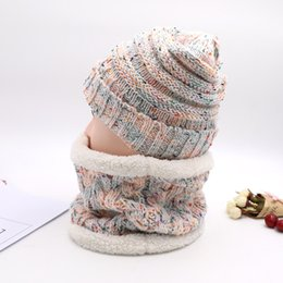 crochet hat sizing Australia - Designer Women Beanie Crochet Knitted Hat Soft Wool Plus Velvet Hat Scarf Two Pieces Set Outdoor Winter Warm Hats Caps Earmuffs 2019 C92401