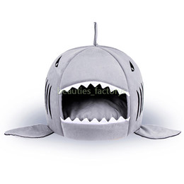 Wholesale pet sharks online – design Pet Bed Cat Puppy Shark Shape Cushion Dog House Cat Kennel Warm Pet Warm Portable Dog Supplies