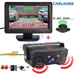 Camera Sensor Australia - Car Reverse Parking Camera With Radar Sensor auto Rear View Cameras Night Vision Rear View Radar Parking Sensor 4.3 inch screen