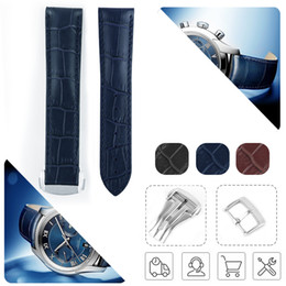 21mm watch Canada - 19mm 20mm 21mm 22mm Watch Strap Bands Man Blue Black Genuine Calf Leather Watchbands Bracelet Clasp Buckle For Omega 300m Planet-Ocean AT150