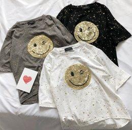 Smile T Shirt Women Australia - Women Girl Summer Smiling face print casual T-shirt short sleeve Blouse black white gray