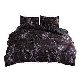 China JEYL Bedding Set Queen Size Black Marble Printed Reactive Ropa De Cama Bed Set For Adult Double Bedding Sets Duvet Cover supplier black double beds suppliers
