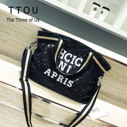 $enCountryForm.capitalKeyWord Australia - Ttou Women Sequin Fashion Handags Female Large Capacity Top-handle Bags Appliques Lady Casual Tote Bags Letter Shoulder Bag Sac J190615