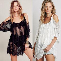 5579cb5434ba5 New Brand 2019 Sexy Women Swimwear Lace Hollow Out Crochet Bikini Cover Up  Beach Mini Dress Swimsuit Bathing Suit Solid