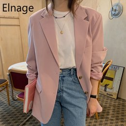 korean office suits Canada - Spring Fashion Blazer Jacket Women Casual Pockets Long Sleeve Work Suit Coat Office Lady Solid Slim Blazers Pink Korean 5B397