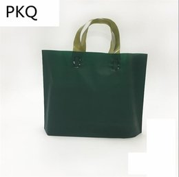 Green Plastic Gift Bags Australia - Dark Green Plastic Bag High Quality Plastic Gift Bag for Clothes With Handles Large Shopping Packing 48pcs lot