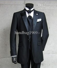 $enCountryForm.capitalKeyWord Australia - Real Photo One Button Black Groom Tuxedos Peak Satin Lapel Best man Groomsman Men Wedding Suits Bridegroom (Jacket+Pants+Tie+Vest) A:299