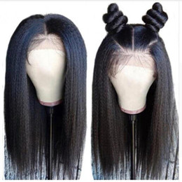 Yaki Remy Human Hair Wigs Australia - Full Lace Human Hair Wigs Pre Plucked With Baby Hair Yaki Straight Peruvian Remy Human Hair Full Lace Front Wigs For Black Women