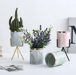 $enCountryForm.capitalKeyWord UK - Nordic high-end flower pot marble pattern fleshy ceramic flower pot wrought iron vase iron frame stand green plant green flower pots set