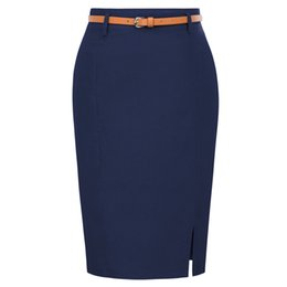 Wholesale Kk Work Wear Pencil Womens Solid Color Split Belt Sashes Decorated Hip Wrap Bodycon Skirt Sexy Elegant Office Skirts J190626