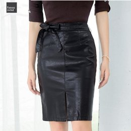 bows packages Australia - Leather Skirt New 2019 Package Pu Autumn Winter Pencil Eelegant Bow Ladies Fashion Women Hip Slit Skirt Sk3440