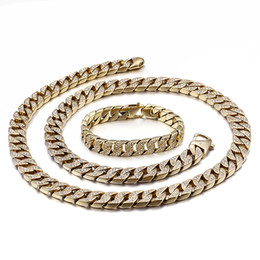 cuban links chain set Australia - Hip Hop CZ Stone Paved Gold Stainless Steel Flat Cuban Link Chain Bracelet Necklace Sets for Men Rapper Jewelry
