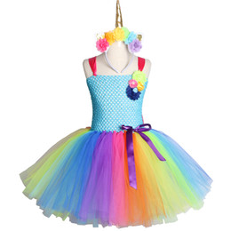 6680739f770 Rainbow Unicorn Girls Tutu Dress Tulle Flower Baby Girl Birthday Party  Dress Children Kids Halloween Pony Unicorn Costume 2-12y Y190516