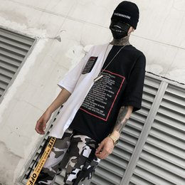 Printed Tees Australia - New Western Style Fashionable Brands Length Irregularity Letter Printed Men's T-Shirts Hip Hop Casual Male Tops Tees Streetwear