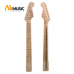 Wholesale 21 Fret Tiger Flame Maple Guitar Neck Replacement Guitar Neck for ST Electric Guitar Abalone Dots Natural Yellow Glossy