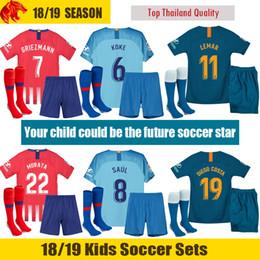 369f9c97546 18 19 Atletico Madrid Kids Kit 2018 2019 LEMAR GRIEZMANN Kids Men Women Football  Shirt CORREA MORATA Soccer Shirt SAUL DIEGO COSTA Jersey