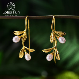 925 leaves earring Australia - Lotus Fun Real 925 Sterling Silver Natural Pearl Handmade Fine Jewelry Waterdrops From The Olive Leaves Earrings For Women MX190720