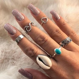 $enCountryForm.capitalKeyWord Australia - 7 Pcs set Bohemian Hollow Heart Love Wave Shell Letter Gem Silver Ring Set For Women Charm Fashion Beach Party Clothing Jewelry