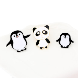 panda jewelry crystals Australia - High quality Cartoon Cute Enamel Pin Penguin Panda Animal Pins Anime Icons Women's Brooches Badge Jacket Hat Jewelry Brooches