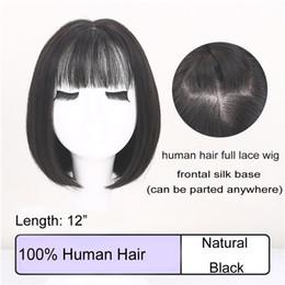 "$enCountryForm.capitalKeyWord Australia - Meiyang 100% Human Hair Wig 12"" Bob Haircut Black Short Straight Wig Silk Based Full Lace Wig with Baby Hair Pre-Plucked Celebrity Hairstyle"
