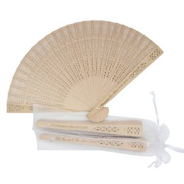 fold hand bag Australia - 50pcs Personalized Engraved Wood Folding Hand Fan Wooden Fold Fans Customized Wedding Party Gift Decor Favors Organza Bag
