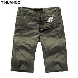 Wholesale cargo shorts big men for sale – plus size Yihuahoo Summer Shorts Men Big Size Casual Cotton Short Pants Army Military Short Trousers Pockets Bermuda Cargo Shorts A333 Y19042604