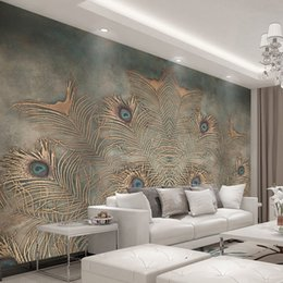 Interior Decor Styles Australia - Custom Photo Wallpaper For Walls 3D Chinese Style Peacock Feather Abstract Art Wall Painting Interior Backdrop Wall Decor Mural