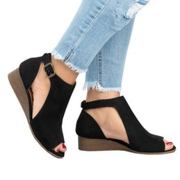 Casual Shoe Thick Heel Australia - Summer Sexy Women's Wedge Casual Buckle Sandals Sides Hollow Out Ladies Slope Thick Heel Flat Shoes Fashion Rome Low-heeled Shoes
