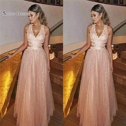 petite wedding gown pink Australia - 2019 Pink Beads Aline Tulle Evening Dresses Sexy V-neck Customed Made Formal Party Dresses Prom Gowns