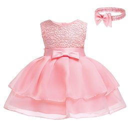$enCountryForm.capitalKeyWord Australia - Baby Girls Summer Lace Dresses With Headband 2pcs Sleeveless Girls Princess Dress For Baby Baptism Birthday Children Clothing Y19061101