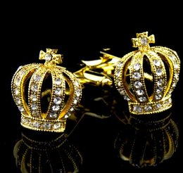 $enCountryForm.capitalKeyWord Australia - 18mm Free shipping high quality men's shirt cuff links are all fashionable gold crystal crown Cufflinks for aristocratic costumes M1