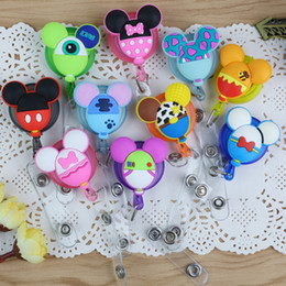 Wholesale old cartoons for sale - Group buy Retractable Badge Reel Pull Buckle ID Card Badge Holder Cute Cartoon Silicone Reels Belt Clip Hospital School Office Supplies Anti Lost Clip