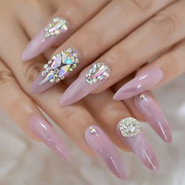 long finger nails Australia - 3D Luxery Colorful Gems Extra Long Stiletto False Nails Tips Pointed Sharp Stilettos Fake Nail Marble Pink UV Gel Press on Nails