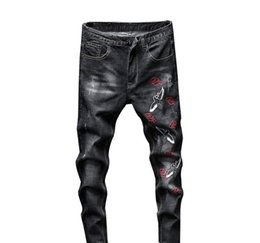 Wholesale male embroidery jeans for sale – denim Fashion Streetwear Ripped Jeans for Men skinny Retro Elasticity Slim Quality Male casual embroidery Denim Trousers G3P2