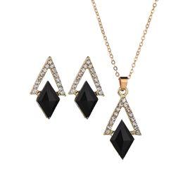 $enCountryForm.capitalKeyWord UK - Fashion Jewelry Sets Rhombus Crystal Necklace&Pendant For Women Rhinestone Drop Earrings Women Wedding Bride Accessories